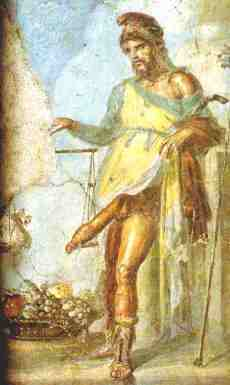 Priapus weighing his penis