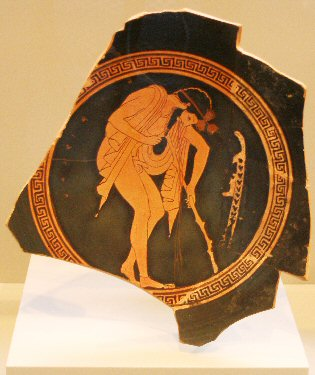Drunken man on a Greek bowl
