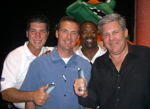 Tim Tebow and friends with Stanley knives