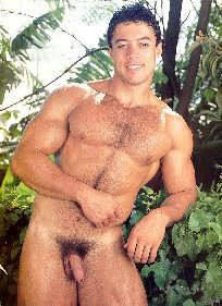 A muscle man in a garden