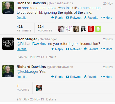 Richard Dawkins Tweets against circumcision