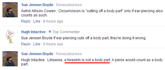 ''The foreskin is not a body part''