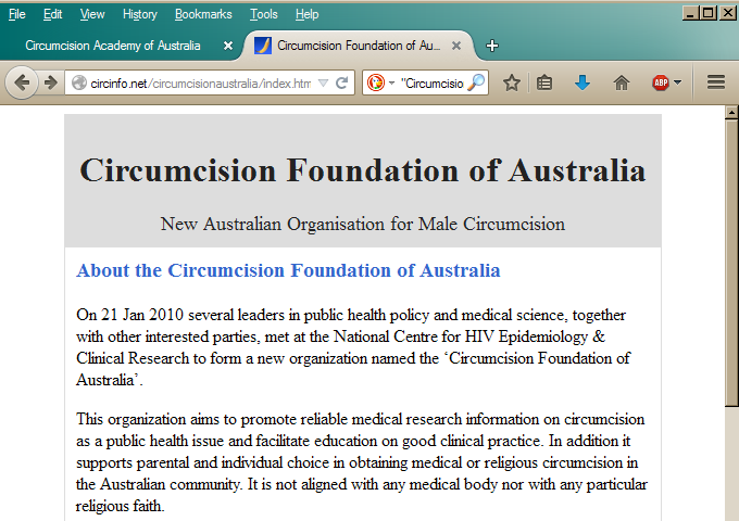 Morris's website: The Circumcision Foundation of Australia