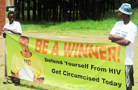 Banner: ''Defend yourself from HIV - Get Circumcised Today''