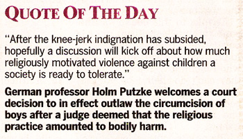 Quotation from Holm Putzke: After the knee-jerk indignation, hopefully a discussion about religious violence...