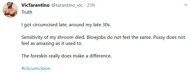 regret-vic ''sensitivity of my shroom died. Blowjobs do not feel the same. Pussy does not feel as amazing as it used to''