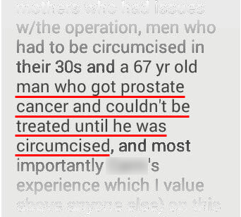 a man who had to be circumcised before he could be treated for prostate cancer...