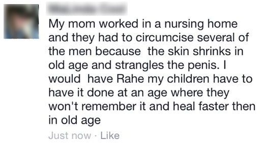 ''the skin shrinks in old age and strangles the penis''
